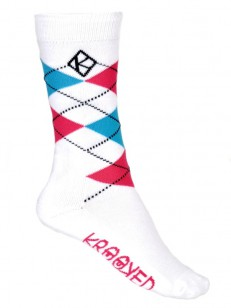 KROOKED ponožky ARGYLE WHITE/PINK