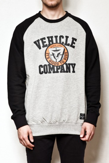 VEHICLE mikina BASEBALL HEATHER GREY/BLACK