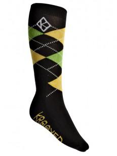 KROOKED ponožky ARGYLE BLK/YEL