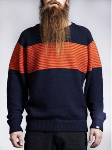MAKIA svetr BALTIC KNIT NAVY/ORANGE