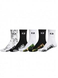GLOBE ponožky MALCOM CREW 5 PACK Camo