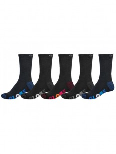 GLOBE ponožky MULTI STRIPE CREW 5 PACK Black