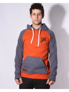 YUKI THREADS mikina SLIM RETRO HOODY ORANGE/STEEL