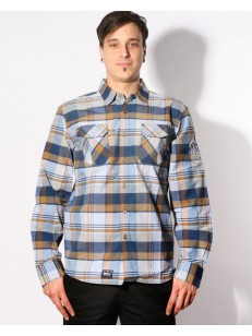 PICTURE košile FLINT L/S DARK BLUE/BROWN