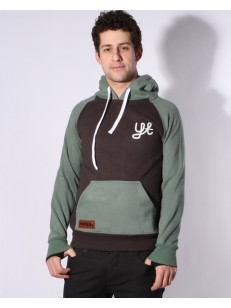 YUKI THREADS mikina SLIM RETRO HOODY CHARCOAL/MINT