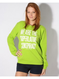WESC mikina MESSAGE CREW LIME GREEN