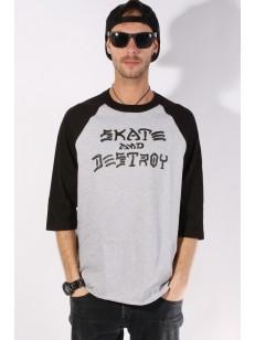triko SKATE DESTROY RAGLAN WHITE/BLA