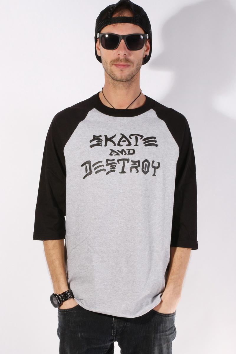 Triko Skate Destroy Raglan White/bla - Xl šedá