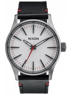 NIXON hodinky SENTRY 38 LEATHER GUNMETAL/WHITE