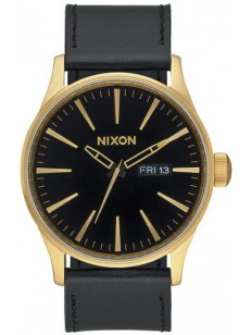 hodinky Nixon Sentry Leather gold black