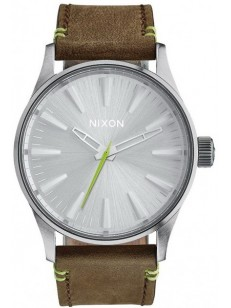 hodinky Nixon Sentry 38 Leatherbrown lime