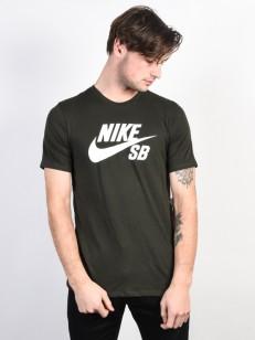 NIKE SB tričko LOGO SEQUOIA/WHITE