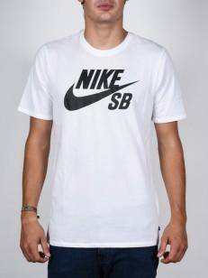 NIKE SB tričko LOGO WHITE/WHITE/BLACK