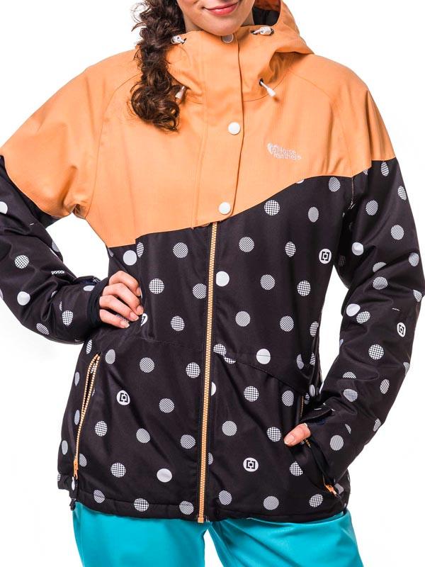 Horsefeathers Bunda Coralie Black Dots - Xs oranžová