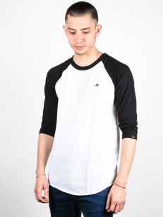 EMERICA tričko TRIANGLE RAGLAN BLACK/WHITE