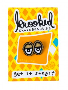 KROOKED odznáček EYES LAPEL PIN GLD/BLK
