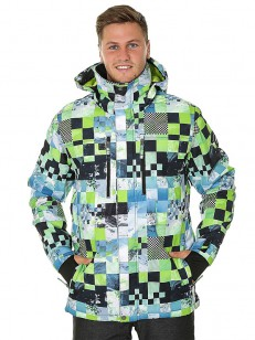 QUIKSILVER bunda MISSION PRINTED LIME GREEN MONEY