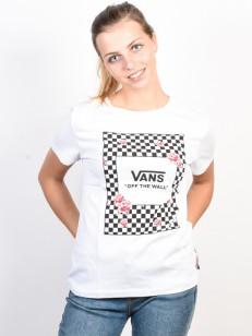 VANS tričko BOXED ROSE CHECKS WHITE