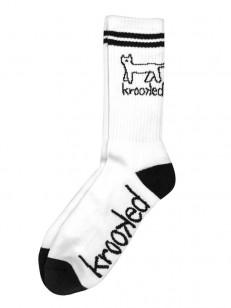KROOKED ponožky KAT WHITE/BLACK